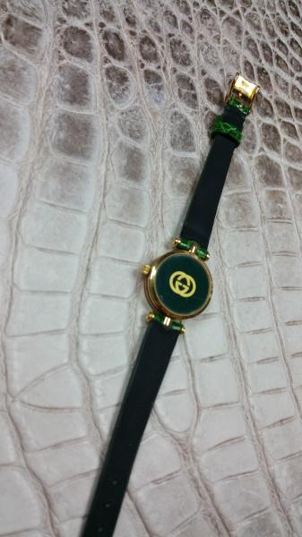 オールドグッチ(GUCCI)/時計ベルト/グレージング緑/クロコダイルオーダーメイド/電池交換