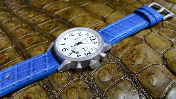 ブルー系クロコダイルオーダー時計ベルト