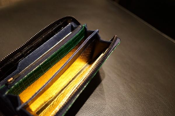 グレージンググリーンクロコダイル/オーダーメイドラウンドファスナー長財布