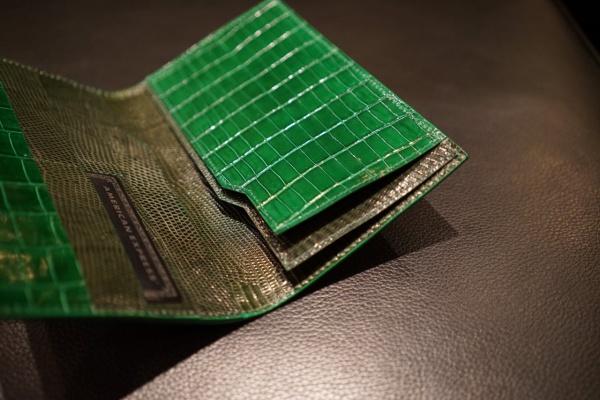 グレージンググリーンクロコダイル/オーダーメイド薄型長財布