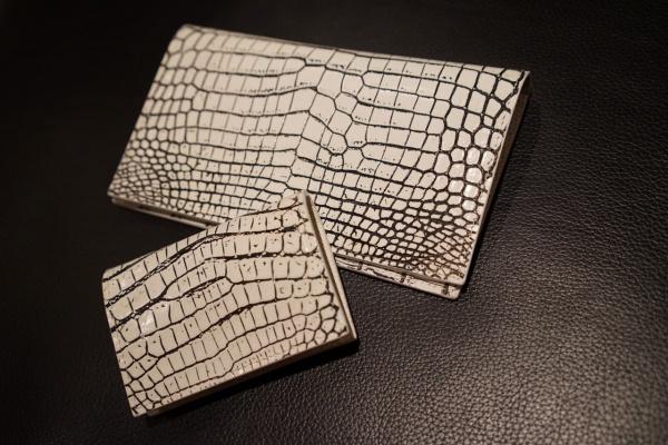 バニラカラークロコダイル/オーダーメイド薄型長財布&コインケース(背面カードメース付)