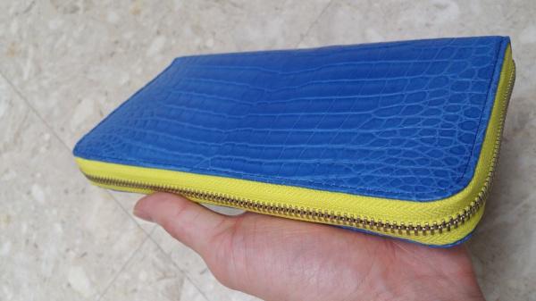 マットブルーのクロコダイル長財布オーダーメイド