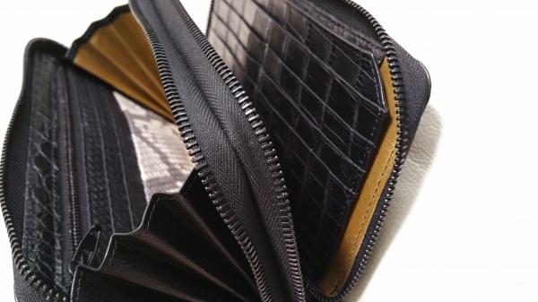 オーダークロコダイルWラウンドファスナー長財布(黒色)/150&28