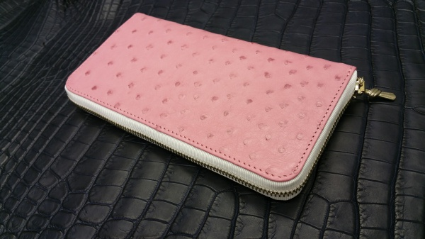 FULLBRIDGE Design Special Order Made Long WALLET/PINK OSTRICH×CROCODILE×LIZARD