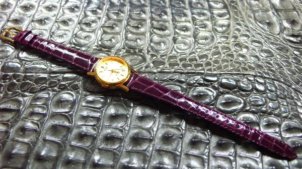 カシオ時計/オーダークロコダイルベルト/艶ボルドー/電池交換