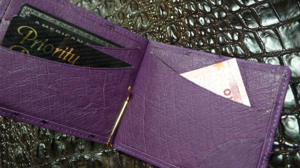 HERMES同メーカーオーストリッチ皮革使用/オーダーメイド/札バサミ&カード入れ