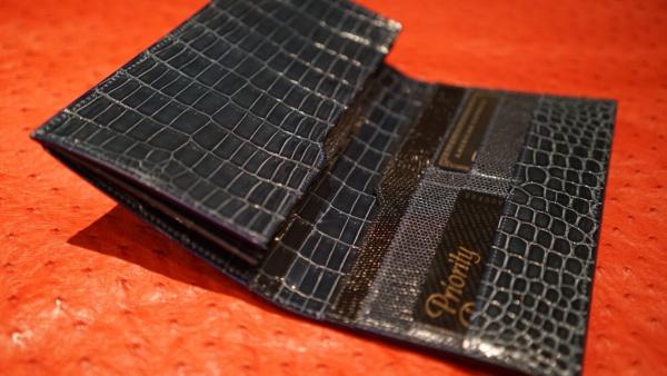 薄札入れ/艶ブルーグレイクロコダイルオーダーメイド/長財布&コインケース(背面カード入)