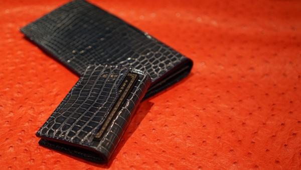 艶ブルーグレイクロコダイルオーダーメイド/コインケース(背面カード入)&長財布set