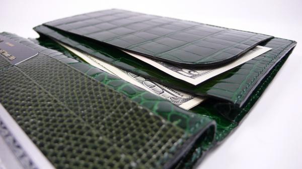 艶グリーンクロコダイルオーダー長財布/カード3×6