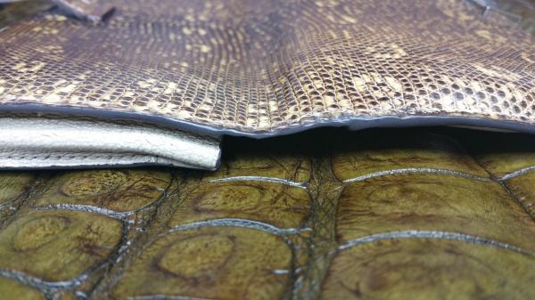 HERMES(エルメス)/長財布(リザード素材/リングトカゲ)/修理/リフォーム/栄養/リカラー/カラーリフレッシュ/オーダーメイド/コバ/切れ目/インク/再縫製