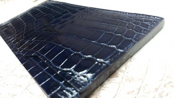 【FULLBRIDGEdesign】【超薄型&多機能なスマートな長財布!!】シャイニング(グレージング)艶ダークネイビークロコダイル皮革/本磨き(コバ)切れ目仕上げ/クロコダイルオーダーメイド