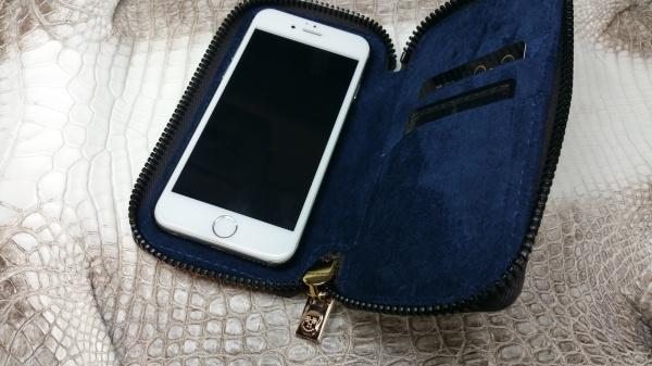 【お洒落で個性的なスマホケース!!】【FULLBRIDGEdesign】【イタリア製FULLBRIDGE別注ファスナー×ファスナー引き手FULLBRIDGEオリジナルデザインスカル(Skull)×ダイヤモンド1p】ラウンドファスナー式iPhone(アイフォン/スマートフォン/スマホ)ケース/カバー/カード入れ付き/裏地ネイビーピックスエード/クロコダイル/オーダーメイド