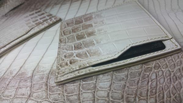 【FULLBRIDGEdesign】マット(艶なし)ヒマラヤクロコダイル皮革/オーダーメイド(小物、カードケース&少量名刺入れ、クレジットカード&お札入れ
