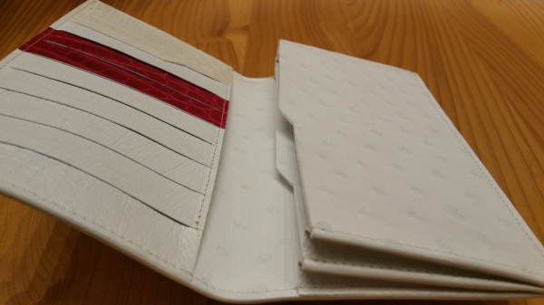 【FULLBRIDGEdesign】HERMESオーストリッチ長財布×インナーヒマラヤクロコダイル+シャイニングピンククロコダイル