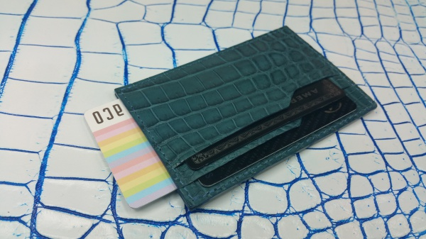 ブルージーンクロコダイルカードケース/横スライド隠しカード入れ付/クロコダイルオーダーメイド