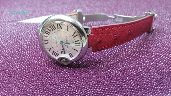 カルティエ(Cartier)/バロンブルー/HERMES(エルメス)オーストリッチ/ 時計ベルト/ストラップ/バンド/コバ(切れ目)本磨き/純正Dバックルに合わせ加工/オーダーメイド(ビスポーク)