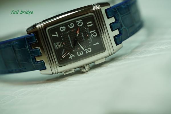 ジャガールクルト・レベルソ/クロコダイル時計ベルト(ストラップ)純正ラバー凸凸凸移植加工/別作オーダーメイド(ビスポーク)