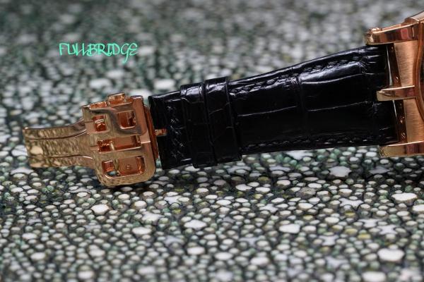 Roger Dubuis Crocodile Watch Strap Bespoke/ロジェ・デュブイ/時計ストラップ(ウォッチベルト)切り込み凹加工×純正Dバックル(尾錠)/ハンドステッチ・FULLBRIDGE別注染めスーパーブラックマットクロコダイルフルオーダーメイド