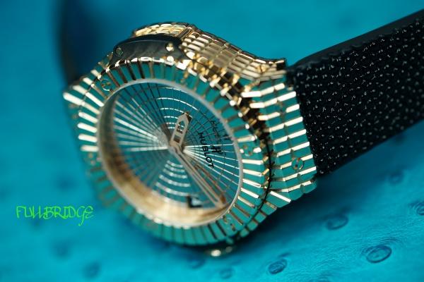 HUBLOT・BIGBANG・Gold Caviar(ウブロ・ビッグバン・ゴールドキャビア)ガルーシャストラップ(時計ベルト)×クロコダイル/FULLBRIDGEオリジナルHUBLOT向け金具移植×オーダーメイド×コバ(切り目)本磨き仕上げ