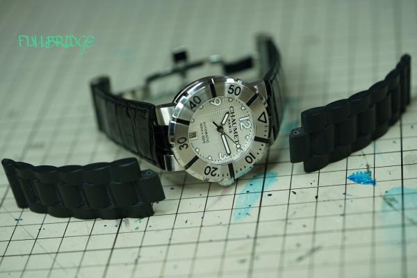 CHAUMET(ショーメ)時計ストラップ凸加工(ベルト)黒グレージング(シャイニング)艶クロコダイルオーダーメイド(ビスポーク)