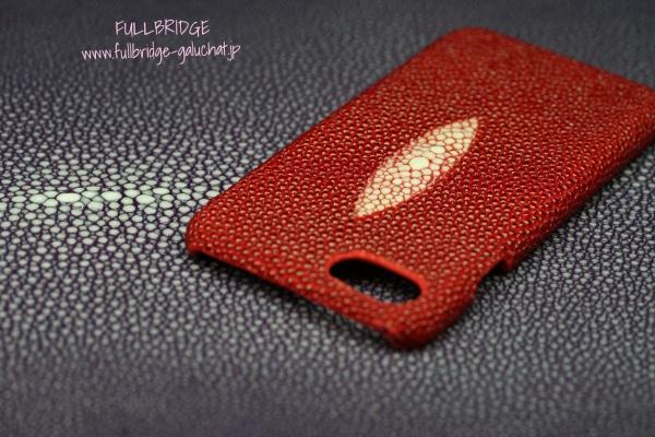 Cell Phone cover Galuchat Leather Bespoke Coba Style/スマホカバー.ガルーシャ(エイ皮革)キャビアスキン.ピジョンブラッドスペシャルカラー.ビスポーク(フルオーダーメイド)