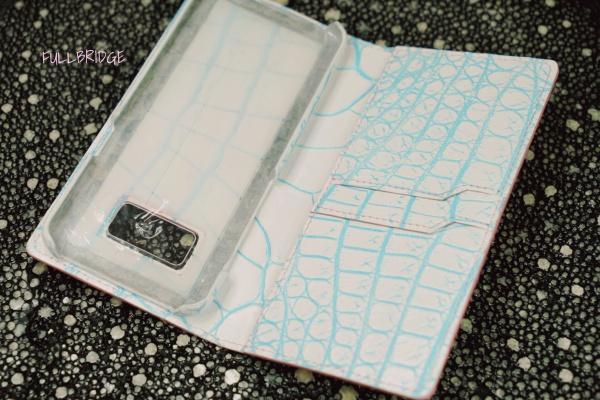 Cell Phone Cover Notebook Style Crocodile Bespoke/スマートフォン(スマホカバー)手帳型.FULLBRIDGE別注染め白スプレイクロコダイル x 谷水色.コバ切り目仕上げ.フルオーダーメイド(ビスポーク).カード入れ2室付