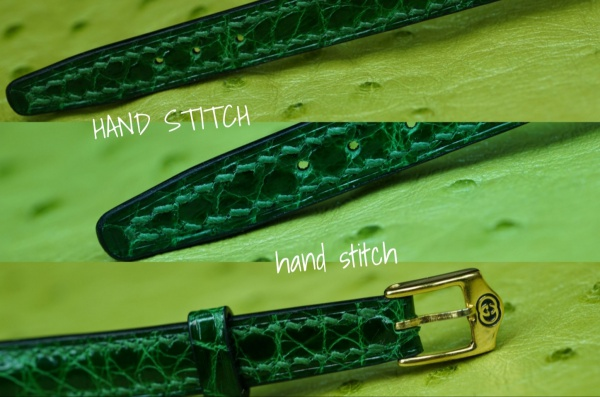 OLD GUCCI Vintage Watch.Bespoke Crocodile Strap.Hand Stitch.Coba style/オールドグッチヴィンテージ腕時計 ウォッチストラップ(ベルト)・菱目打ち手縫い.ハンドステッチ.コバ切り目.クロコダイル皮革ビスポーク(フルオーダーメイド)