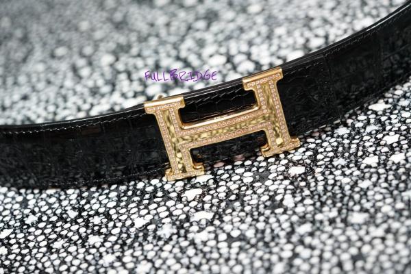HERMES H Belt x Diamond/Crocodylus Porosus Bespoke /エルメス H腰ベルトx ダイヤモンド 贅沢1本取り(継ぎ目なし) ポロサスクロコダイル x 裏地焦げ茶色牛革/ビスポーク(フルオーダーメイド)