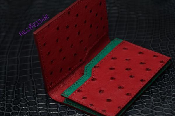 【FULLBRIDGEdesign】Ostrich Full Point Style・Name Card Case/オーストリッチ フルポイント バイカラー 名刺入れ・コバ(切り目)仕上げ・ビスポーク(フルオーダーメイド)