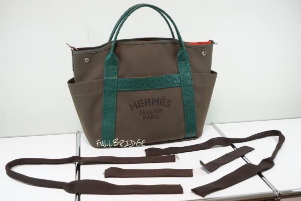HERMES BAG handle ostrich custom/エルメス バッグ サックドパンサージュグルーム ブルー ・ハンドル(持ち手)オーストリッチカスタム x インナーバッグファスナー(イタリア製FULLBRIDGE別注)取り付け