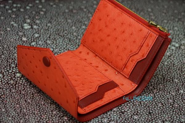 HERMES same Ostrich Leather・Compact 3 Fold Wallet & Coin Case・Bespoke・Coba Style/エルメス(セイム)オーストリッチ x TSヌメ・ 3ツ折コンパクト財布(レディース・女性向け) x ファスナー(イタリア製FULLBRIDGE別注)小銭入れ付/ビスポーク・フルオーダーメイド/コバ(切り目)仕上げ /ステッチ&コバカラーチェンジ