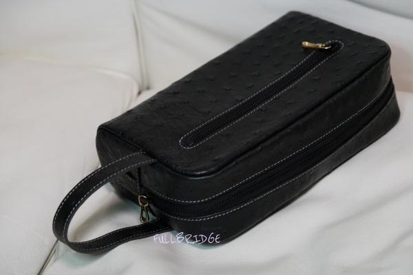 【FULLBRIDGEdesign】Black Color HERMES Same Ostrich・Full Point Style・Clutch Bag・Bespoke/オーストリッチ フルポイント・プレス仕上げ x インナー→パープルピッグスエード・クラッチバッグ(サードバッグ)x イタリア製FULLBRIDGE別注ファスナー・持ち手コバ(切り目)仕上げ・ビスポーク(フルオーダーメイド)