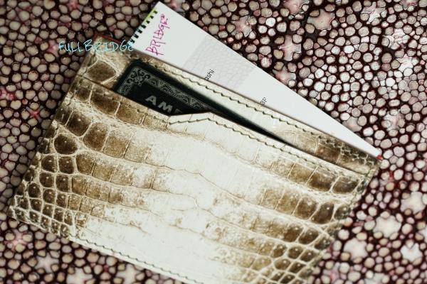 Crocodile Name Card Case・Thin type・Bespoke/グレージング(シャイニング・シャイニー)艶ありヒマラヤクロコダイル xインナー オーストリッチ・薄型名刺入れ・カードケース/コバ(切り目)磨き仕上げ・フルオーダーメイド・ビスポーク
