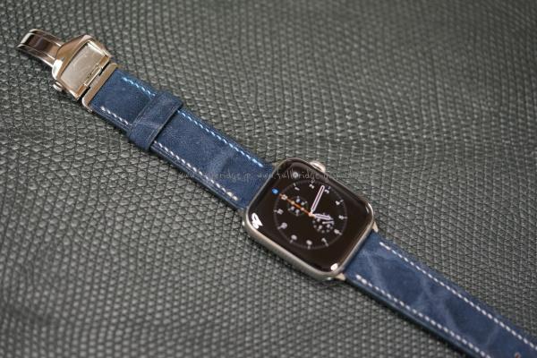 Apple Watch Hand Stitch Bespoke Strap Elephant Leather x Hermes Orange Leather/アップルウォッチ・ネイビー(紺色)エレファント(象皮革)レザー ・ビスポーク(フルオーダーメイド) x 裏地エルメス(オレンジ)レザー ・菱目打ちハンドステッチ x コバ(切り目)仕上げ