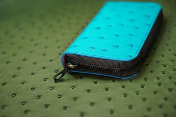 【FULLBRIDGE Design】Ostrich Leather Bespoke.Multi Case.Porch Bag /リーディンググラス(老眼鏡)ケース・充電器・海外携帯・スマホ・現金紙幣・クレジットカード収納/マルチケース・ポーチバッグ/オーストリッチ無双・フルポイント仕上げ・フルオーダーメイド(ビスポーク)/イタリア製フルブリッヂ別注ファスナー/コバ(切り目)仕上げ