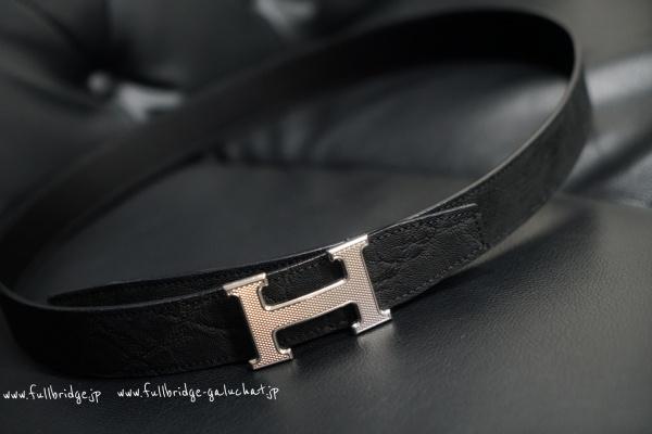 HERMES H Belt Elephant Leather Bespoke Belt/エルメス Hベルト 腰ベルト エレファントレザー1本取り・ビスポーク(フルオーダーメイド)・コバ(切り目)仕上げ