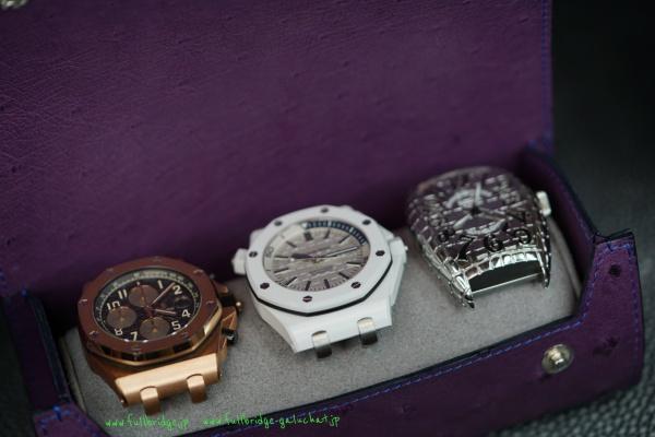 腕時計持ち運び収納ケース・フルオーダーメイド・フルポイントオーストリッチレザー(クイルマークプレス仕上げ) x ボタン部分クロコダイル x コバ(切り目)仕上げ