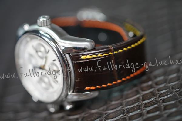 MAURICE LACROIX.Bespoke.Crocodile Leather WatchStrap x Lining Rubber x Hand Stitch 2 Color /モーリス・ラクロア.純正プラスチックパーツ移植 x クロコダイル.時計ストラップ(ウオッチベルト).フルオーダーメイド(ビスポーク) x ハンドステッチ(手縫い) x 別注製作裏地ラバー  x 純正Dバックル移植 x ヘリ返し