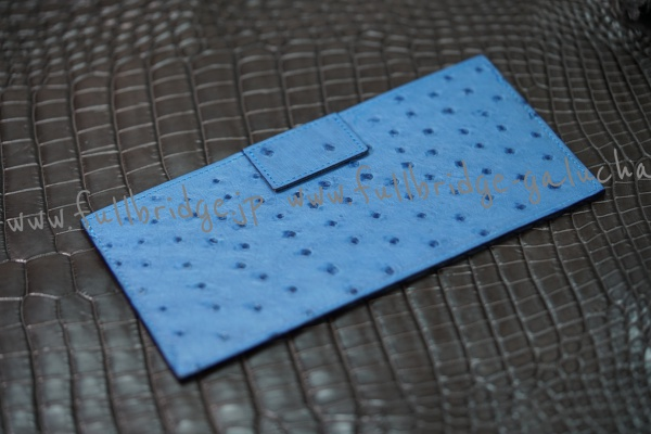 【FULLBRIDGEdesign】オーストリッチ・クイルマークフルポイント・薄型お札入れ&その他(カードや領収書など入れる)部屋付 x 裏面に取り付けベロ付.コバ切り目