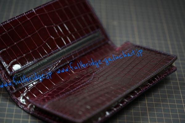 【FULLBRIDGE DESIGN】LONG Wallet inner Crocodile custom Remake/長財布 インナークロコダイル カスタム(リメイク) オーダーメード コバ(切り目)仕上げ イタリア製別注ファスナー