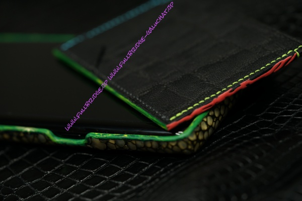 【FULLBRIDGE.DESIGN】Elephant Leather Stylish Name Cade Case/エレファントレザー 薄型名刺入れ/スペシャルコバ仕上げ・マーブルコバ x 手描き(グリーンゴールド)スターマーク入り x クリエイティヴィティ ピンクラバーコバ x 内装ライトピンク牛革