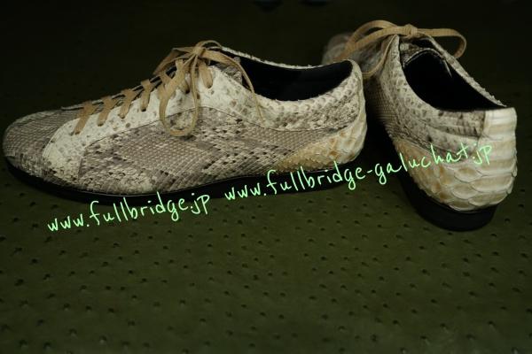 【FULLBRIDGE DESIGN】Sneaker Bespoke Python Leather /スニーカー オーダーメード パイソンレザー3種類 x インナーソール黒&アウトソール黒