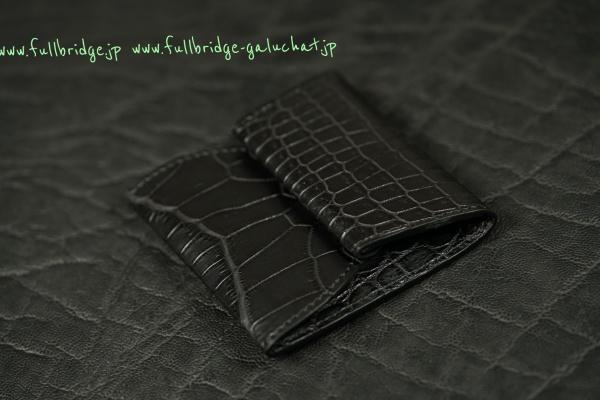 Matte Black Crocodile Bespoke CoinCase/マットブラッククロコダイル フルオーダーメイド(ビスポーク)/小銭入れ コインケース/コバ(切り目)仕上げ
