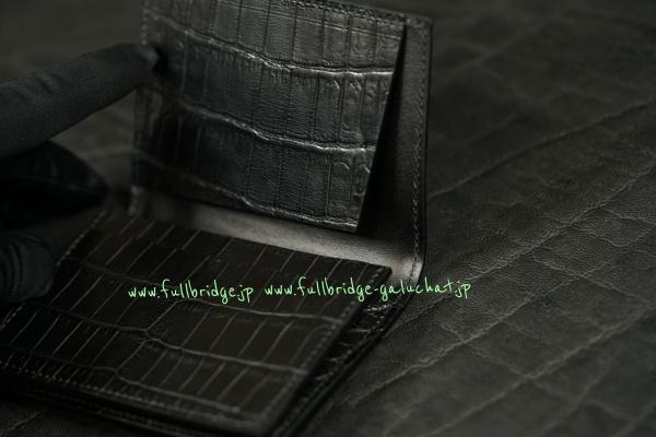 Matte Black Crocodile Bespoke Name Cade Case/マット ブラック クロコダイル フルオーダーメイド(ビスポーク)・名刺入れ(ネームカードケース)/無双仕上げ x コバ(切り目)仕上げ