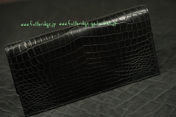 Matte Black Crocodile Bespoke Long Wallet /マット ブラック クロコダイル フルオーダーメイド(ビスポーク)・長財布(お財布)/無双仕上げ x コバ(切り目)仕上げ