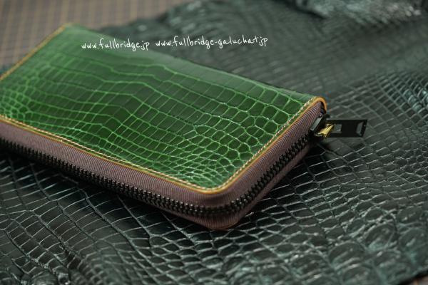 【FULLBRIDGE Design】Bespoke Shiny Crocodile Round zipper wallet /フルオーダーメイド・シャイニー(グレージング)艶ありクロコダイル ラウンドファスナー長財布/内装 リザード x オーストリッチ x クロコダイル/イタリア製FULLBRIDGE別注ファスナー x グログラン基布/オールコバ(切り目)仕上げ