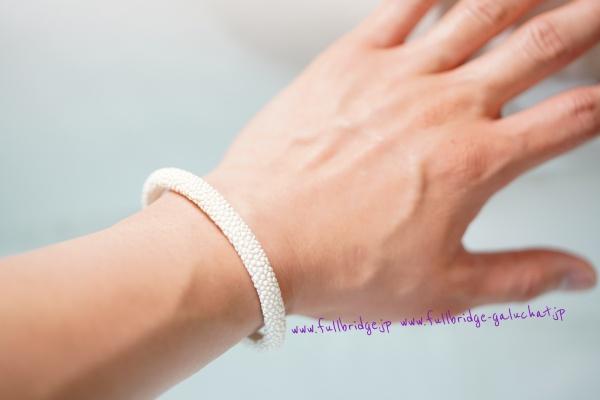 Galuchat Bespoke Bracelet/フルオーダーメイド ガルーシャ キャビアtype ブレスレット6mm幅 別注白色