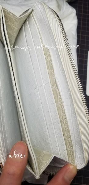 ビフォー&アフター/外装クロコダイル皮革新品張り替え交換 x ファスナー新品交換 x 内装クリーニング&補色,カラーリフレッシュ/ラウンド長財布クロコダイルフルオーダーメイド