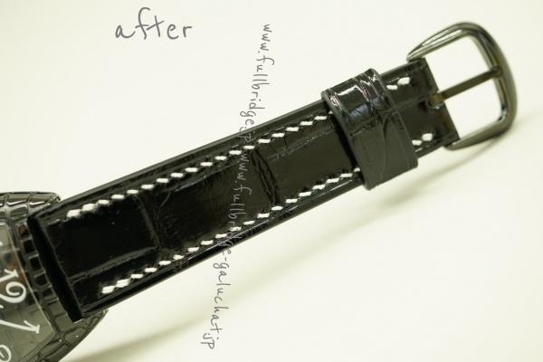 FRANCK MULLER/フランクミュラー・トノウカーベックスブラッククロコ・クロコダイルウォッチストラップ・フルオーダーカスタム・ハンドステッチ x コバ切目