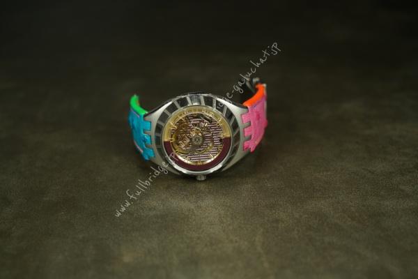 Swatch World Limited 【SISTEM 51・FLY MAGIC】Bespoke Strap/スウォッチ世界限定 【システム51・フライマジック 】オーダーメード ストラップ(時計ベルト)・カスタムストラップ(2ヶ所凹切り込みあり x 純正プラスチックパーツ移植)・表地裏地オーストリッチ.フルポイント.レインボーカラーコーディネート x コバインクスペシャル調色オリジナルカラー蛍光マルチカラー  x スペシャル別注.蛍光手縫い糸 x サドルステッチ x 社外Dバックル移植(ワンサイズ仕上げ)
